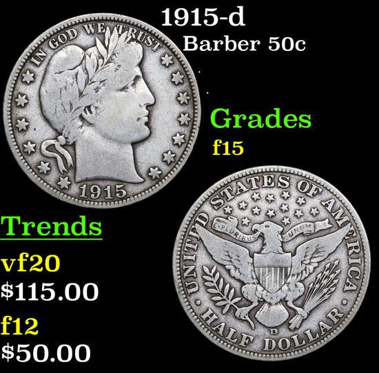 1915-d Barber Half Dollars 50c Grades f+