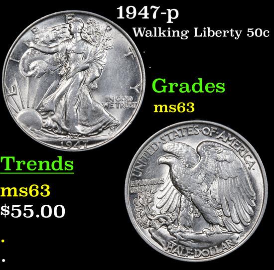 1947-p Walking Liberty Half Dollar 50c Grades Select Unc