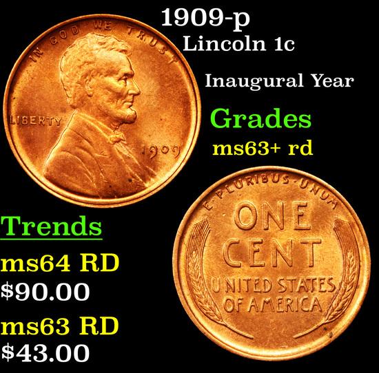 1909-p Lincoln Cent 1c Grades Select+ Unc RD