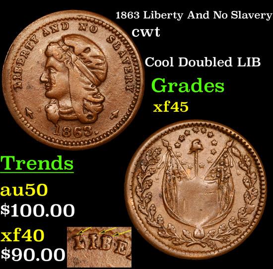 1863 Liberty And No Slavery Civil War Token 1c Grades xf+