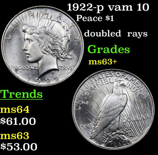 1922-p vam 10 Peace Dollar $1 Grades Select+ Unc
