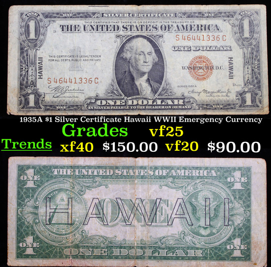 1935A $1 Silver Certificate Hawaii WWII Emergency Currency Grades vf+
