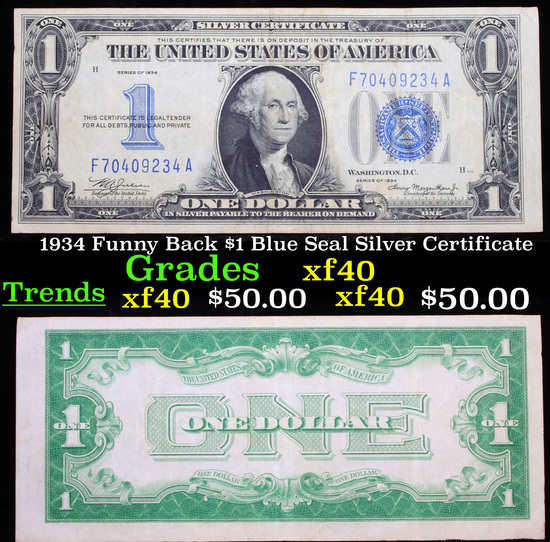 1934 Funny Back $1 Blue Seal Silver Certificate Grades xf