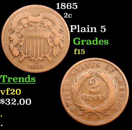 1865 Two Cent Piece 2c Grades f+