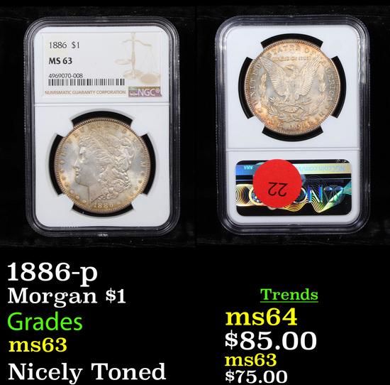 NGC 1886-p Morgan Dollar $1 Graded ms63 By NGC