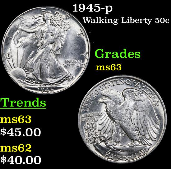 1945-p Walking Liberty Half Dollar 50c Grades Select Unc