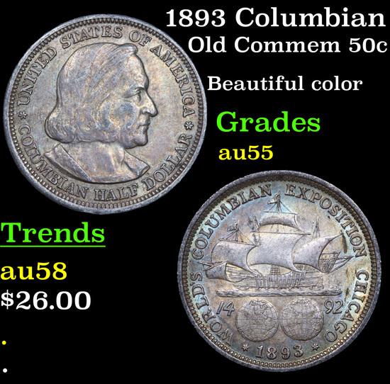 1893 Columbian Old Commem Half Dollar 50c Grades Choice AU