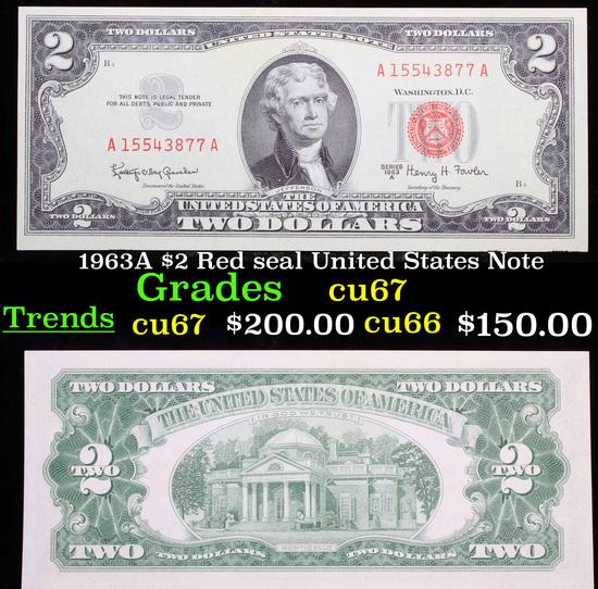 1963A $2 Red seal United States Note Grades Gem++ CU