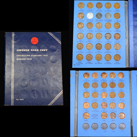 Partial Lincoln Cent Book 1941-1960 54 coins