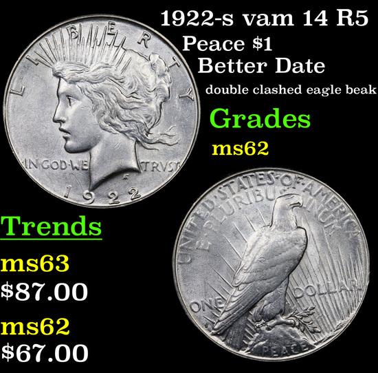 1922-s vam 14 R5 Peace Dollar $1 Grades Select Unc