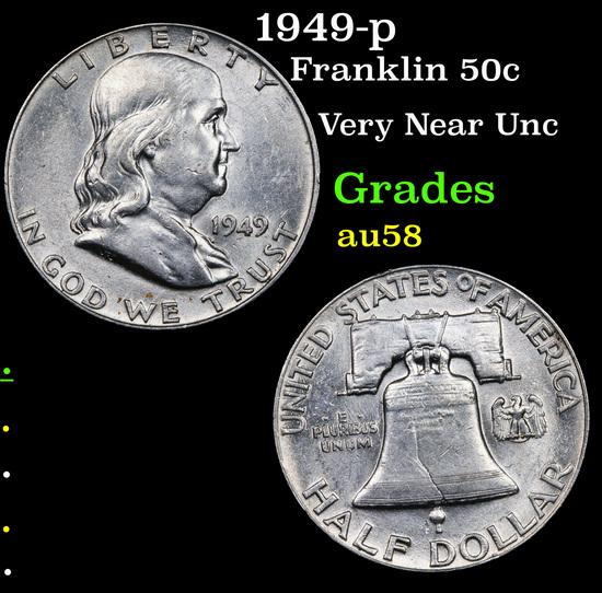 1949-p Franklin Half Dollar 50c Grades Choice AU/BU Slider