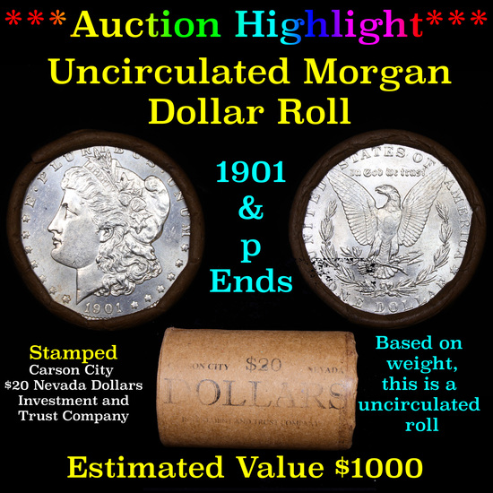 ***Auction Highlight*** 1901 & P Uncirculated Morgan Dollar Shotgun Roll (fc)