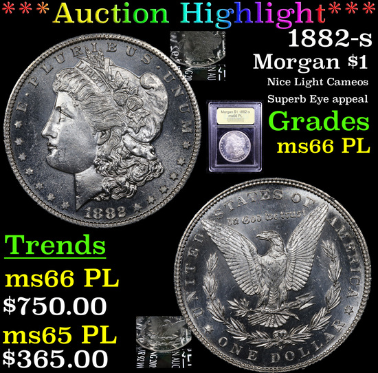 ***Auction Highlight*** 1882-s Morgan Dollar $1 Graded GEM+ UNC PL By USCG (fc)