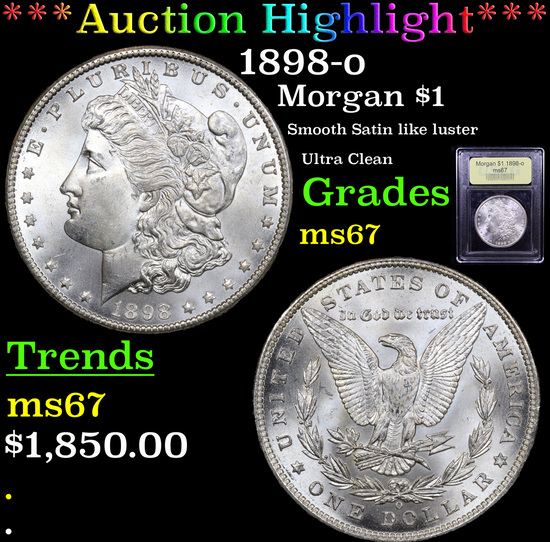 ***Auction Highlight*** 1898-o Morgan Dollar $1 Graded GEM++ Unc By USCG (fc)