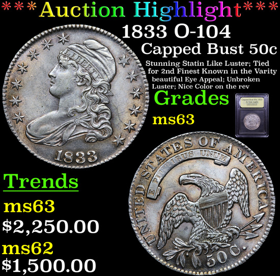 ***Auction Highlight*** 1833 O-104 Capped Bust Half Dollar 50c Graded Select Unc By USCG (fc)