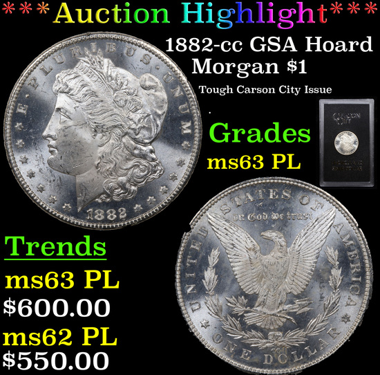 ***Auction Highlight*** 1882-cc GSA Hoard Morgan Dollar $1 Grades Select Unc PL (fc)