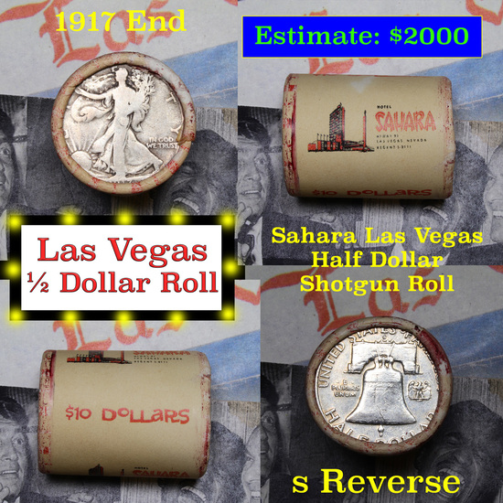 ***Auction Highlight*** Old Casino 50c Roll $10 In Halves Sahara Hotel Las Vegas 1917 Walker & 'S' F