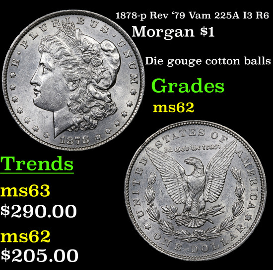 1878-p Rev '79 Vam 225A I3 R6 Morgan Dollar $1 Grades Select Unc