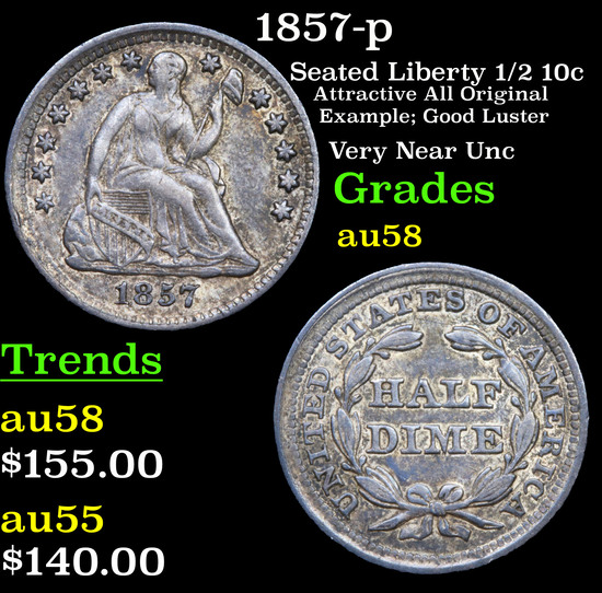 1857-p Seated Liberty Half Dime 1/2 10c Grades Choice AU/BU Slider