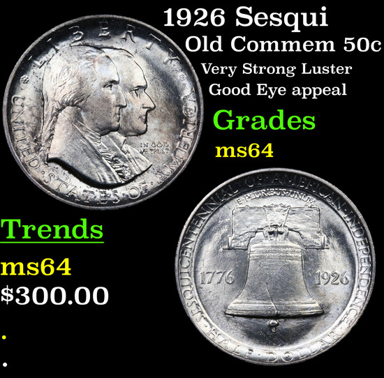 1926 Sesqui Old Commem Half Dollar 50c Grades Choice Unc