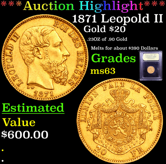 ***Auction Highlight*** 1871 Leopold II 20 Francs Gold Graded Select Unc By USCG (fc)