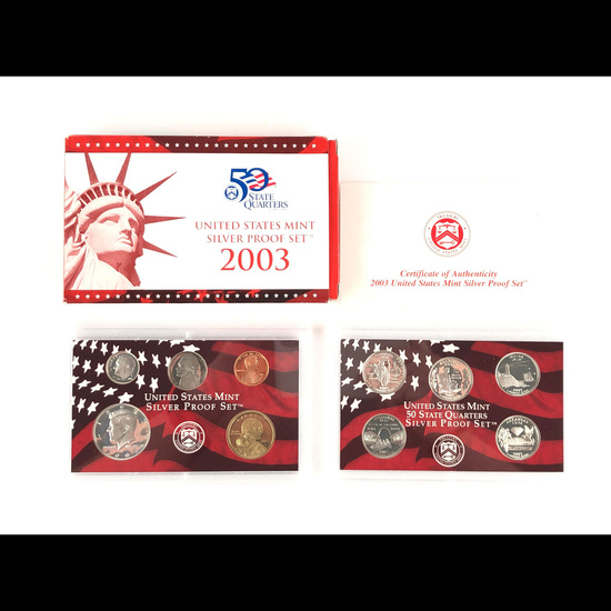 2003 United States Silver Proof Set - 10 pc set, about 1 1/2 ounces of pure silver