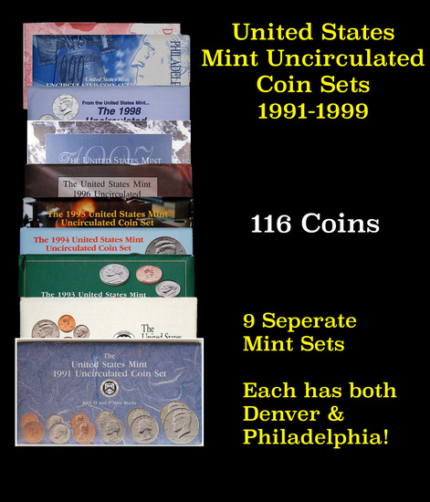 Group of 9 United States Mint Uncurculated Coin Sets In Original Government Packaging 1991-1999 95