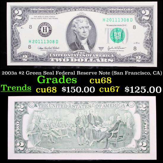 2003a $2 Green Seal Federal Reserve Note (San Francisco, CA) Grades Gem++ CU