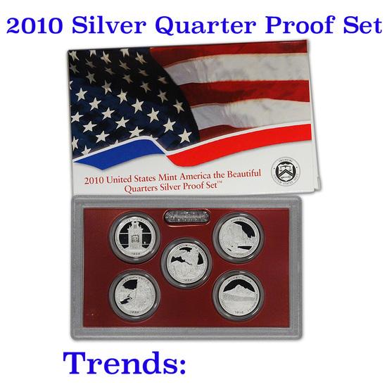 2010 United States Quarters America the Beautiful Silver Proof Set - 5 pc set