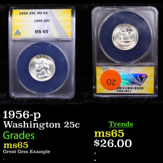 ANACS 1956-p Washington Quarter 25c Graded ms65 By ANACS