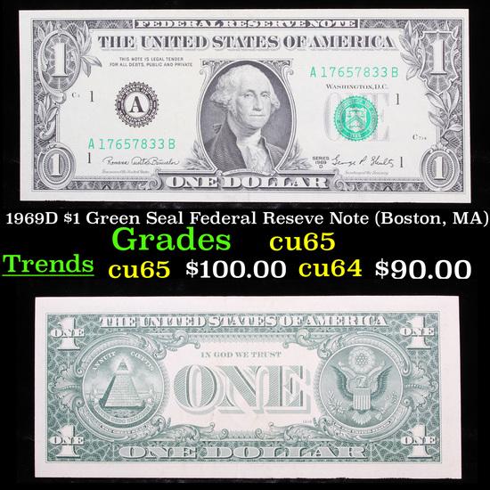 1969D $1 Green Seal Federal Reseve Note (Boston, MA) Grades Gem CU