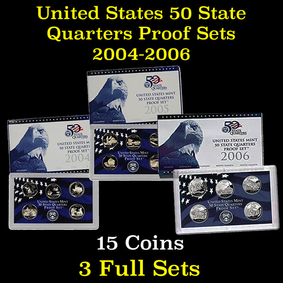Group of 3 United State Proof Quarter Sets 2004-2006 15 coins