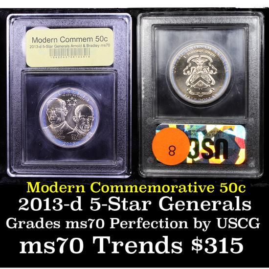 2013-d 5-Star Generals Arnold & Bradley Modern Commem Half Dollar 50c Graded ms70, Perfection By USC
