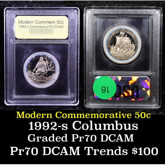 Proof 1992-S Columbus Modern Commem Half Dollar 50c Graded GEM++ Proof Deep Cameo By USCG