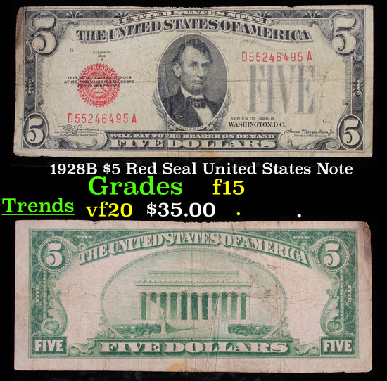 1928B $5 Red Seal United States Note Grades f+