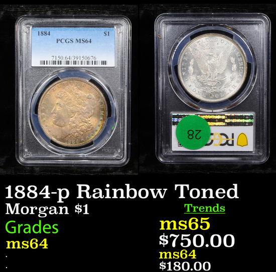 PCGS 1884-p Rainbow Toned Morgan Dollar $1 Graded ms64 By PCGS