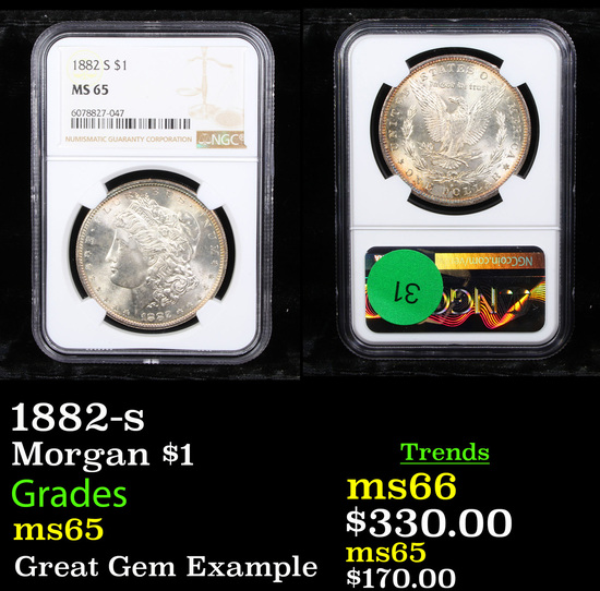 NGC 1882-s Morgan Dollar $1 Graded ms65 By NGC
