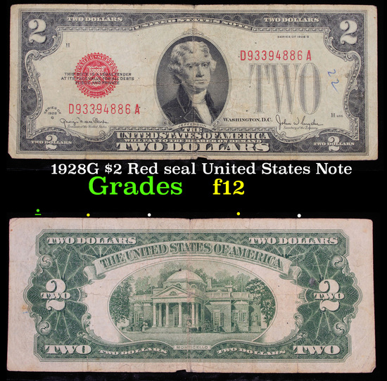 1928G $2 Red seal United States Note Grades f, fine