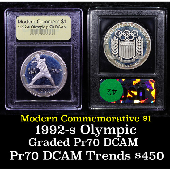 Proof 1992-S Olympic Modern Commem Dollar $1 Graded GEM++ Proof Deep Cameo By USCG
