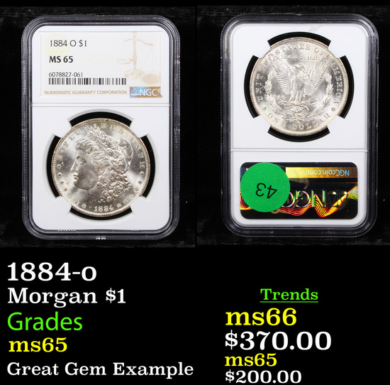 NGC 1884-o Morgan Dollar $1 Graded ms65 By NGC