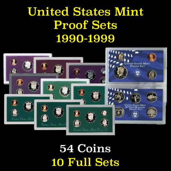 Group of 10 United States Proof Sets 1990-1999 54 coins