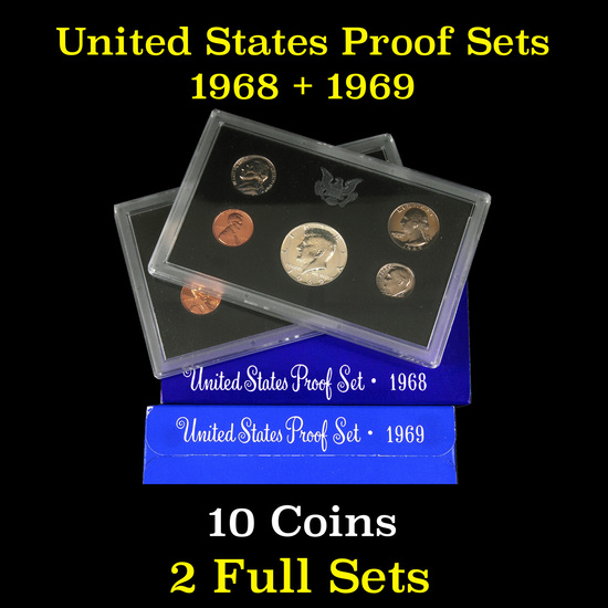 Group of 2 United States Proof Sets 1968-1969 10 coins