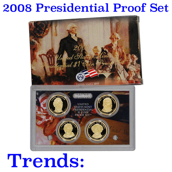 2008 PRESIDENTIAL Dollar Proof Set DEEP CAMEO Mint Coins w/coa