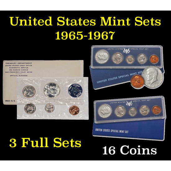Group of 3 Special Mint Sets 1965-1967 16 coins