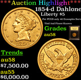 ***Auction Highlight*** 1854-d Dahlonega Med D Gold Liberty Half Eagle $5 Graded Choice AU/BU Slider