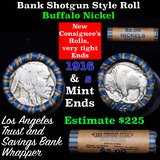 Buffalo Nickel Shotgun Roll in Old Bank Style 'Los Angeles Trust And Savings Bank' Wrapper 1916 & s