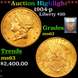 ***Auction Highlight*** 1904-p Gold Liberty Double Eagle 20 Graded Select Unc By USCG (fc)