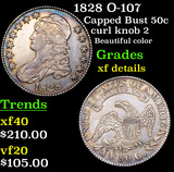 1828 O-107 Capped Bust Half Dollar 50c Grades xf details