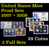 Group of 2 United States Proof Sets 2007 & 2008 28 coins