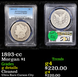 PCGS 1893-cc Morgan Dollar $1 Graded g details By PCGS